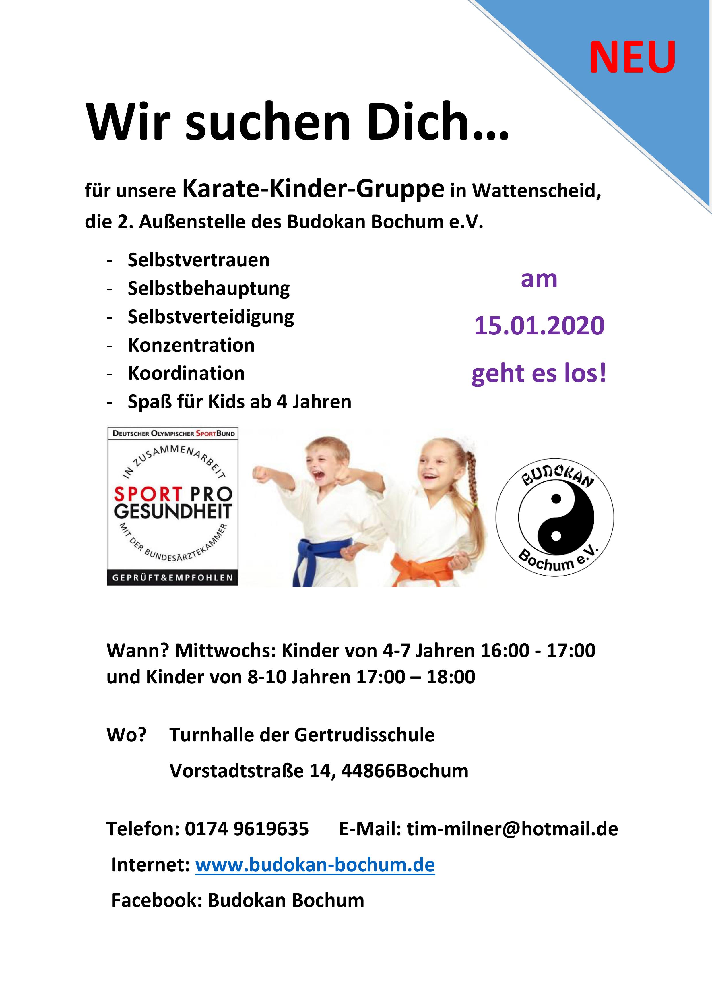Karate-Kinder in Wattenscheid