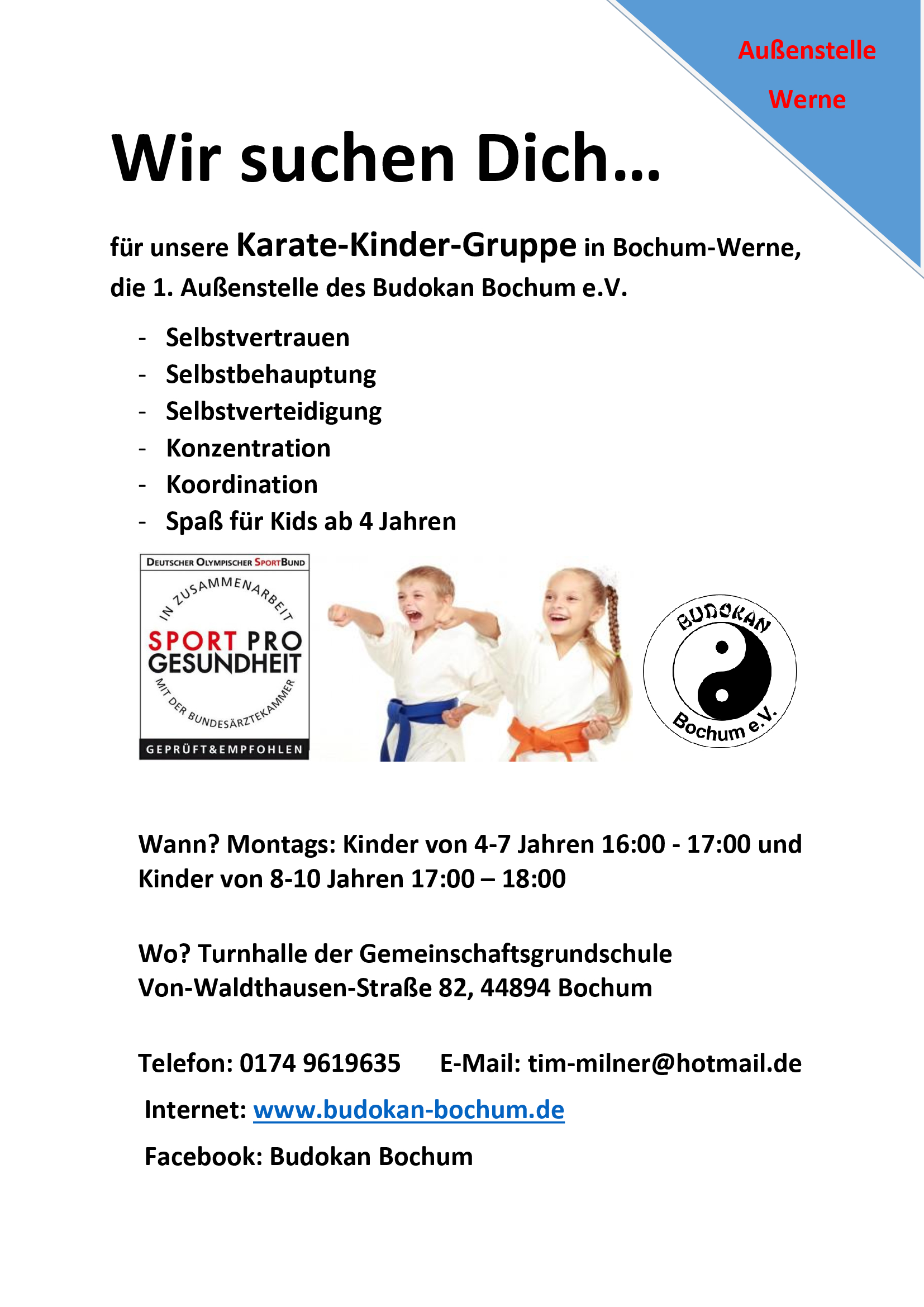 Karate-Kinder in Bochum-Werne